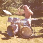 Gary with Gretsch drums June 1972.jpg.jpg