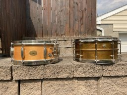 Slingerland Radio King and Joyful Noise Beacon Bronze snare drums.jpg
