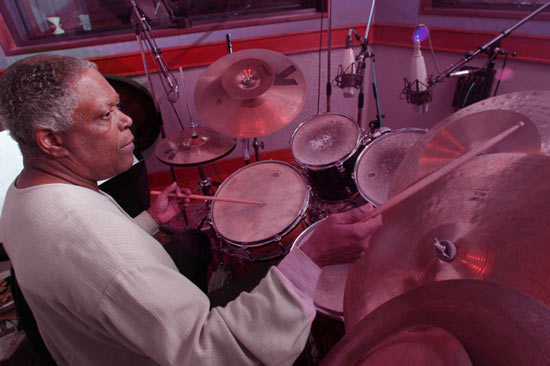 Billy Hart in the recording studio